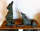 Pair of French art deco borzoi dogs on a marble stand