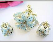Blue Enamel Brooch Earrings - Polka Dot -  3D Lily Flowers - Enamel Pin