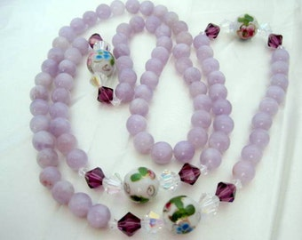 Amethyst Glass Bead Necklace - Vintage Hand Painted Beads -  80's Beaded Necklace