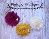 Set of 3- Plum, Ivory and Mustard Yellow Pearl Set/ Newborn Headband/ Baby Headband/ Flower Girl/ Photo Prop