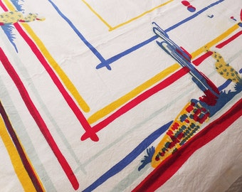 Vintage 1950's Western Mexican or Old Mexico Theme Tablecloth, Great Watercolor Style Composition & Beautiful Primary Colors