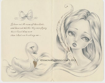 Ugly Duckling LIMITED EDITION only 10 prints signed numbered Simona Candini Lowbrow Illustration Pop Surreal Moleskine Big Eyes Fairy Tale