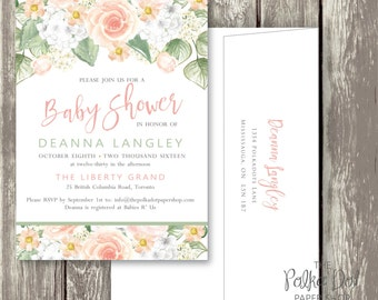 Pretty Watercolour PRINT AT HOME Baby shower invitation / peach rose baby shower invitation / summer garden invitation