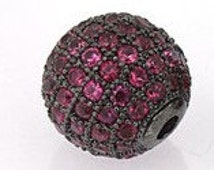 CZ Micro Pave Grade AAA Magenta Color 10MM Round Black