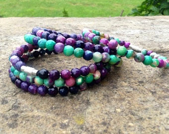 Purple & Green Faceted Agate Stack Bangles