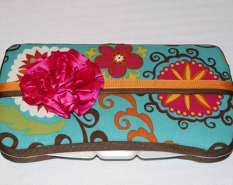 Pink and Teal Fancy Baby Wipe Case