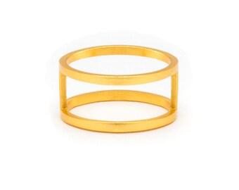 Gold Double Band Ring - Gold Ring - Gold Band Ring - Stacked Gold Ring - Stacked Ring - Double Ring Band