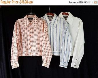 ON SALE 70s Blouse Lot, Polka Dot, Hippie Chic, Rockabilly, Mod Shirt, Set of 3