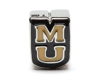 MU University of Missouri Tigers Bead Charm for Bracelet or Necklace - Fits Pandora