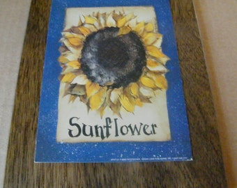 """Country Primitive Sunflower Wall decor sign 7x9"""""""