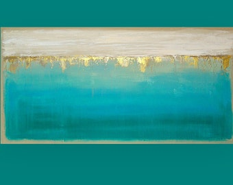 Art & Collectibles, Abstract Painting, Painting,Seascape Painting, Canvas by Ora Birenbaum, Into the Abyss 3 24x48x1.5""
