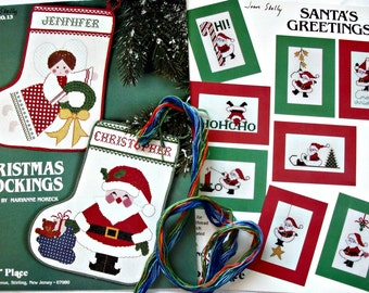 Set of 2~Christmas Cross Stitch Leaflets-Vintage-How To Stockings, Cards~Astor Place~X-Stitch Booklets~Santa's Greetings~Christmas Stockings