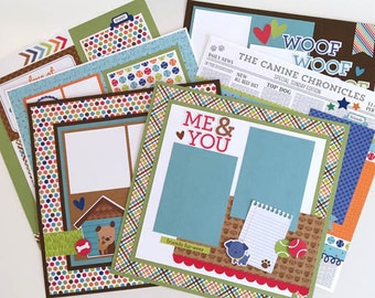 Dog Pet Scrapbook Page Kit 12x12 or Premade Pre-Cut with Instructions 6 pages