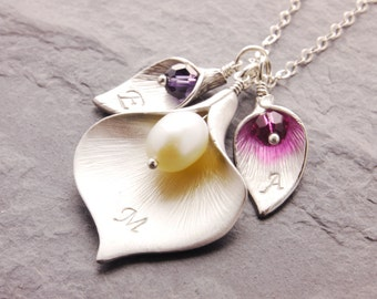 Calla Lily Necklace, mother daughter, mom necklace, mother necklace, calla lily jewelry, grandma necklace, initialized calla, N6