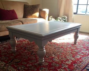 Large Gray Farmhouse  Chic Chunky Coffee Table