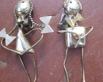 Unique Sterling Figural Man & Woman Clip Earrings