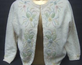 Pastel Beaded Ivory Wool Cardigan c 1960