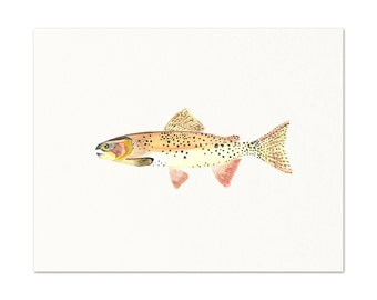 Watercolor Trout Art Print.  Archival Trout Print.  Fisherman Gift.  Angler Art Decor.  Dad Gift.  Father's Day.