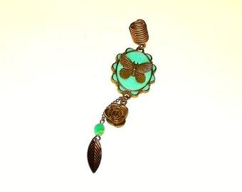Dreadlock Jewelry - Antique Gold Mint Green Epoxy Butterfly Loc Jewel