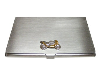 Gold and Silver Motorcycle Business Card Holder