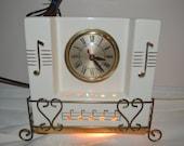 Vintage Ceramic Sessions Ceramic Light up Mantel Clock Musical Note