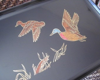 Vintage Couroc Inlayed Tray with Ducks