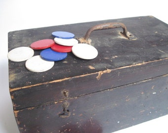 Antique Rustic Wood Box With Paper and Plastic Poker Chips