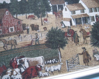 Vintage Framed  Fabric Art Reproduction of Edward Hick's The Residence of David Twining by Jackson