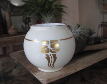 Vintage La Seynie P and P Limoges Sugar Bowl with Gold France