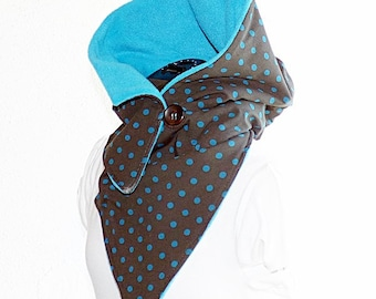 Hooded Scarf - Jersey dotted with fleece