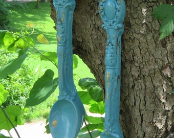 Turquoise Spoon and Fork Kitchen Wall Decor