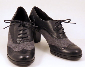 Womens Croft and Barrow Granny Wingtip Shoes Black Oxfords Sz 6  with Wool Size