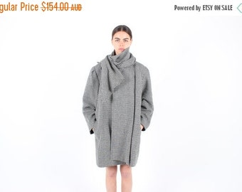 10,000 LIKES 7 Day Sale 80s DRAMATIC / AVANT Garde Convertible Houndstooth Wool Jacket / Coat w/ Inbuilt Scarf