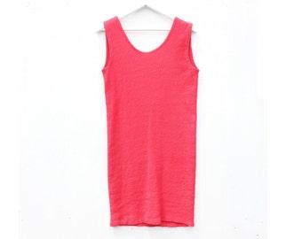80s Minimal Simple SUPER STRETCH Bright Coral Red Shift Summer Sleeveless Mini Dress