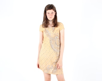SALE - Incredibly Intricate 90s Indian SILK Sequin / Beaded Mirror Embellished Embroidered Nude / Flesh Coloured Mini Hippie Tee Dress