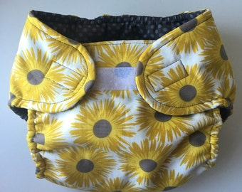 Gray Sunflowers Diaper Cover Small