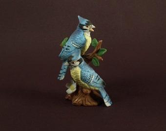Vintage Lefton Porcelain Blue Jay Birds 02203