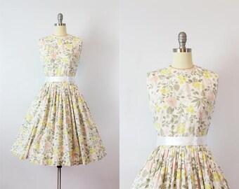 vintage 50s sun dress / 1950s floral cotton dress / fit and flare dress / pastel floral dress / pleated skirt dress / Grey Gardens dress