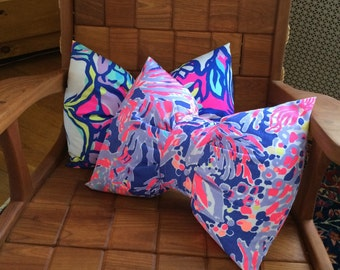 Bow-shaped pillow made with Lilly Pulitzer fabric