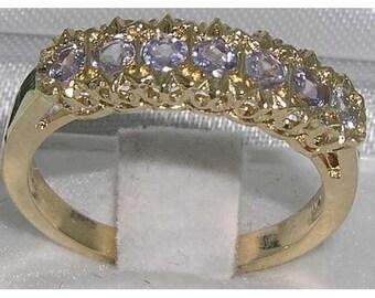 9K Yellow Gold Natural Tanzanite Engagement Ring, 7 Stone  Ring, English Victorian Design Half Eternity Band -Customize:14K,18K