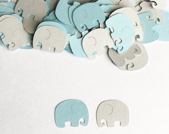 Baby Shower Decoration, Elephant Confetti, Blue Gray, Elephant Baby Shower