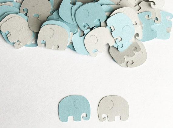 Baby Shower Decoration, Elephant Confetti, Blue Gray, Elephant Baby Shower