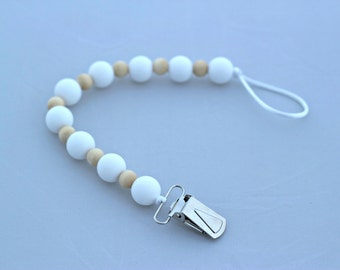 White Silicone and Natural Wood Beaded Teething Pacifier Clip