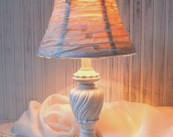 Table lamp White with Cream Silk rag ribbon lampshade French farmhouse Cottage chic Upcyclesisters