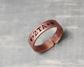 Zeta Tau Alpha Ring, Thin Copper Ring, Hand Stamped Ring, Zeta Tau Alpha Jewelry, Sorority Jewelry, Sorority Ring, Copper Jewelry