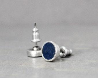 Blue Azurite Earrings, Silver Azurite Earrings, Blue Earrings, Azurite Jewelry, Silver Earrings, Meditation Jewelry, Pewter Earrings,