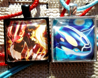 Kyogre and Groudon - Spirit Link/Primal Reversion Pendant made from Trading Cards