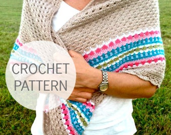 Crochet Shawl Pattern - Nordic Shawl - Crochet Shawl UK, US & Swedish terms,  instant download PDF pattern