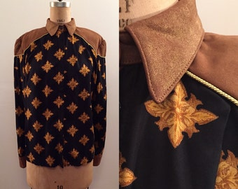 Leather and rayon amazing 80s western designer blouse