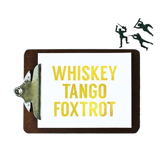 Gold Foil Print Whiskey Tango Foxtrot Typography Art Print Graphic  - WTF - Metallic Gold Wall Decor